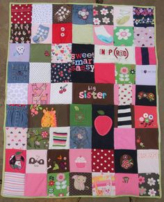 Quilt made from baby clothes! What a sweet gift to give to each kid and fun way to remember your fave outfits :)