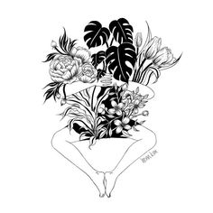 """We are in love with the new illustration artist @henn_kim made for us, soon to be printed on pretty little bags. Plants and flowers together 4eva."""