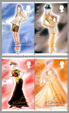 1997 - Gibraltar stamps by John Galliano with models in Dior Couture