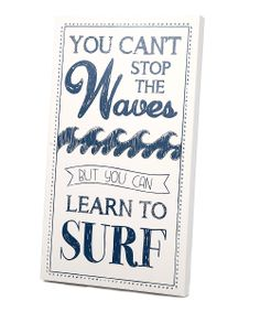 White & Navy 'Learn to Surf' Wall Art | Daily deals for moms, babies and kids