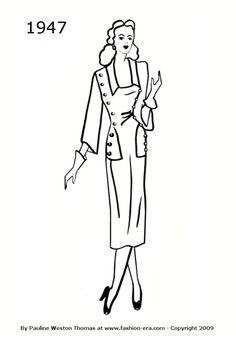 Dress - 1947 fashion history silhouette