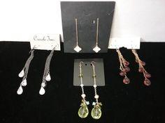 Lot of 4 pair pierced ear crystals, rhinestone chain dangling earring sets-NEW  | eBay
