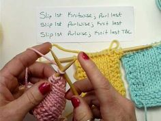 Slip Stitch Edges by Marlene Dysert - video shows how to make 2 different slip stitch edges also called chain edges for knitting. I show what I call a twisted chain edge and an open chain edge. This type of edge eliminates the bumps that appear with garter and stockinette patterns.