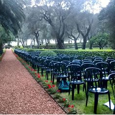 """""""Celebration of the Birth of the Bab in the shadow of his shrine. There is something very attractive about the setup itself the symmetry and order. Now imagine each of these chairs filled by a person with a radiant smile and you have magic.  """" - @sahar009 -  #bahai #bahaifaith #peopleofthebahaifaith #peopleofTBF by peopleof_bahaifaith"""