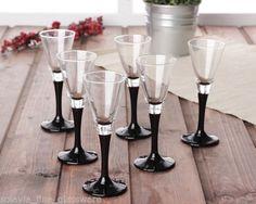 Set of 6 Elegant Tall Black Stem Liqueur Shot Sherry Bar Glasses 50ml | eBay