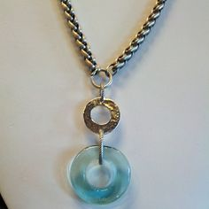 Vintage feather chain and versatile aqua 100  year old glass...yes please!!