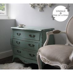 Sea Shore Distressed Chest of Drawers | French Chest. French Shabby Chic Teal Chest