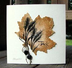 By Birgit Edblom (Biggan at Splitcoaststampers). The leaf is die-cut. Neat idea to stamp on a large die-cut! Misted with gold glimmer mist.