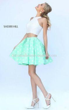Taffeta Sherri Hill 32244 Mint Homecoming Dress 2015