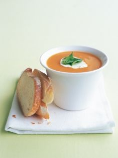 Sweet potato soup with goat's cheese