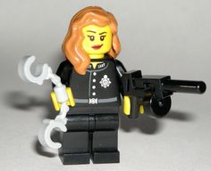 LEGO Police Woman MINIFIGURE Girl Female Handcuffs/Tommy Gun/Long Hair #LEGO Lego For Sale, Lego Custom Minifigures, Lego Police, Prince Of Persia, Lego Group, Lego Parts, Cool Lego, Indiana Jones, Pirates Of The Caribbean