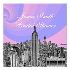 NYC Skyline ESB Pink Blue Swirl Bridal Shower Custom Invitations