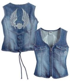 Harley-Davidson® Women's Denim Wings Vest 99124-14VW