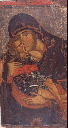 Παναγία_Ελεούσα_-_≃1400_-_Βυζαντινό_Μουσείο_Βέροιας Byzantine Icons, Byzantine Art, Religious Icons, Religious Art, Madonna, Medieval Books, Christian Artwork, Divine Light, Holy Mary
