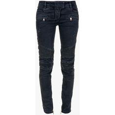 Balmain Sleeveless gold-tone silkscreen logo cotton T-shirt ($205) ❤ liked on Polyvore featuring tops, t-shirts, jeans, pants, biker jeans, skinny jeans, destructed skinny jeans, balmain jeans and torn skinny jeans