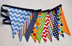Ready to Ship Primary colored fabric pennant by GiddyGumdrops