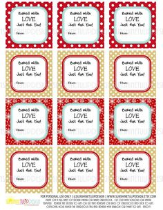 "Printable ""Baked with Love"" Food Gift Tags, Baked Goods Gift Tags, Coo - Sunshinetulipdesign Christmas Jam, Christmas Cookies Gift, Christmas Food Gifts, Holiday Gift Tags, Christmas Ideas, Baked Goods For Christmas Gifts, Christmas Cupcakes, Christmas Tags Printable, Christmas Labels"