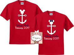 Nautical Family Disney Vacation Shirts  Are you looking for the perfect shirt to wear while taking your cruise?  Featured is a Family Set of Nautical Theme Disney Shirts.  These shirts are sold individually so you can add as many shirts needed for your set!  Please add each shirt to your cart individually. This listing is NOT for a set of shirts. Please choose the color of shirt with either the Mickey or Minnie from the dropdown. *****Please put in the notes to seller area the wording for…