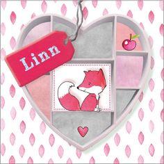 Hip en lief geboortekaartje met vos en label 'Linn' http://www.liefkindje.nl