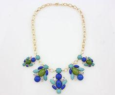 Collier Déclaration de bulle de mode, femmes de cru de foulard de collier couleur bleu-clair