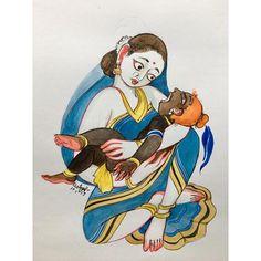 Krishna for Today Kerala Mural Painting, Tanjore Painting, Krishna Painting, Indian Art Paintings, Abstract Paintings, Watercolor Paintings, Bal Krishna, Radhe Krishna, Indian Illustration