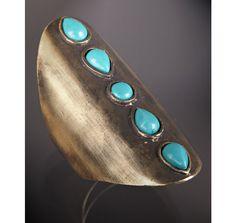 Gold & Turquoise bead long finger ring