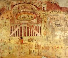 318-ROMAN ARCHITECTURE, Wall Painting: Sport event at the amphitheatre of Pompeii. Many Roman wall paintings are also about historical events, famous people, and daily life.