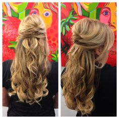 Half up half down. Hair by Samantha Seider. Instagram: ss_bridal_hair
