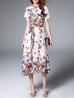 Multicolor Floral Casual Floral-print Polyester Midi Dress