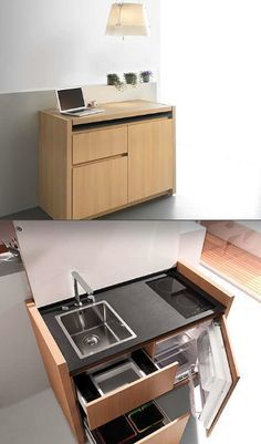A tiny kitchen with everything but it turns into a console hidden away when not in use.