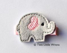 Elephant Felt Hair Clip - Light Pink and Silver Elephant Barrette - Baby Hair Clip to Adult Hair Clip. $4.00, via Etsy.