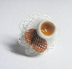 digestive biscuits and a cup of tea ring - miniature food jewellery £10.99