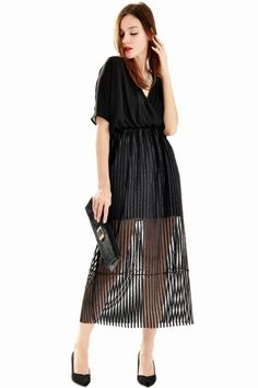 Sexy Surplice Front Batwing Sleeves Striped Black Dress - OASAP.com