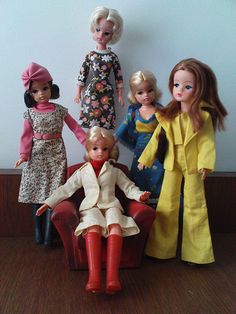 "Vintage Sindy Dolls, particularly like ""cleaning lady Sindy""."