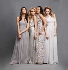 ♥  TIP: Combine gowns in similar shades such as grey, silver, charcoal and stone.  Use a range of fabrics like tulle, sequin and silk in different silhouettes (think  as strapless, halter or v neck) to get that perfect mismatched look.. http://www.confettidaydreams.com/chic-romantic-bridesmaid-dresses/