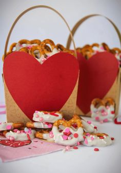 Valentine's Day Cake Batter Chocolate Covered Pretzels are made with white cake mix, white chocolate, pretzels and festive sprinkles.