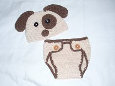 Crochet+Spotted+PUPPY+DOG+Hat+and+Diaper+by+ButterfliesnLadybugs,+$33.00