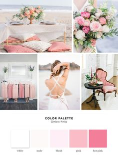Color Palette: Ombre Pinks   Cake and Lace - wedding inspiration, wedding vendors, and more