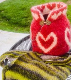 Yarn Bowl Hand Knit Red Wool Felted Yarn Bowl with by MollyConroy, $59.99