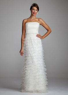 David's Bridal Wedding Dress: Tiered Organza Gown with Jewled Waist Style 231M22790: Clothing for only $199.99