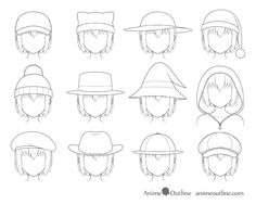 How to Draw Anime Hats & Head Ware - AnimeOutline Cowboy Hat Drawing, Drawing Hats, Cap Drawing, Drawing Anime Clothes, Drawing Poses, Manga Drawing, Art Drawings Sketches, Easy Drawings, Anime Wizard