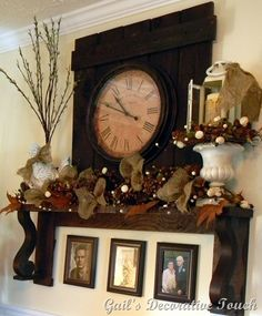 I love that she added burlap bows and pinecones to her garland to make it more full and appealing.