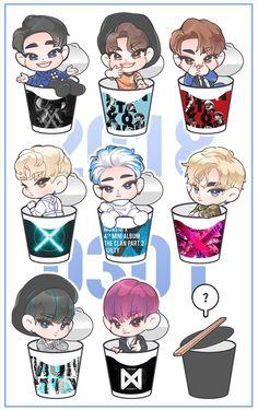 Monsta x Wonho Jooheon, Hyungwon, Shownu, Kihyun, Kpop Drawings, Easy Drawings, K Pop, Buff Bunny, Monsta X Funny