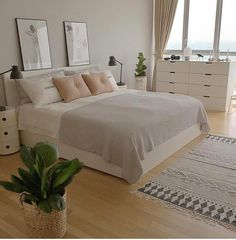 Nude neutral pastel simple bedroom decor interior #MinimalistBedroom