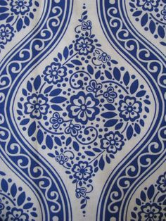 Blue White Geometric Floral Cotton Fabric 1 1/4 yard by aahha