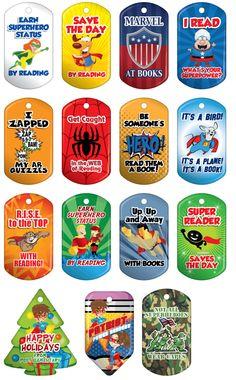Superhero Brag tags - cute reading incentives by marietta… Superhero School Theme, Superhero Ideas, School Wide Themes, School Ideas, Library Themes, Library Ideas, Library Displays, Reading Themes, Ar Reading