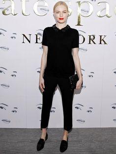 Look todo preto de Kate Bosworth no desfile da Kate Spade na NYFW.