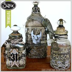 Spooky Altered Halloween Bottles by Shelly Hickox, using Tim Holtz new dies, Laboratie paper, Distress inks and stains, Idea-ology trimmings.