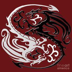 dragão tribal yn yang | Dragon Yin Yang by Jessica Grace Leahy