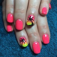 Palm trees add a beachy feel. Colorful Nail Art Designs That Scream Summer Gelish Nails, Toe Nails, Pink Nails, Nail Polish Designs, Nail Art Designs, Beachy Nail Designs, Nails Design, Palm Tree Nails, Nails With Palm Trees
